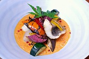 Grilled sea bass, scallop and summer vegetable with creamy tomato sauce