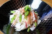 """Kabu"" Japanese radish and King crab salad with ""Yuzu"" Japanese citrus taste"